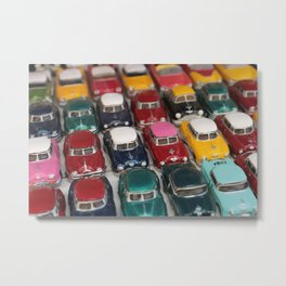 Vintage Retro Design Illustration Cuba Cars mini Metal Print