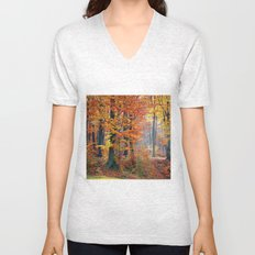 Colorful Autumn Fall Forest Unisex V-Neck