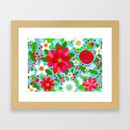 Christmas Poinsettia Rose Holly Floral, red rose, holly, holiday flowers, christmas flowers, holiday Framed Art Print