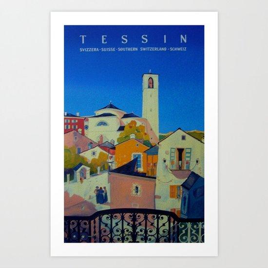 Vintage Tessin Switzerland Travel Art Print