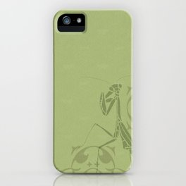 Insectology:  Mantis Botanical Stencil Print iPhone Case