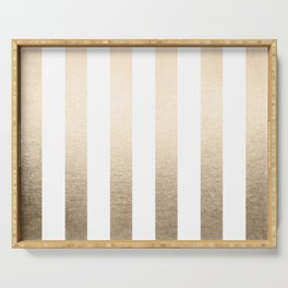 Simply Vertical Stripes in White Gold Sands Serving Tray