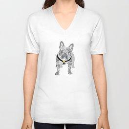 Typographic French Bulldog - Black and White Unisex V-Neck