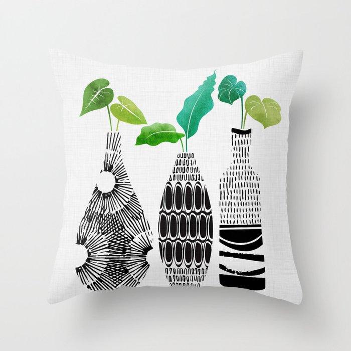 Black and White Tribal Vases Deko-Kissen
