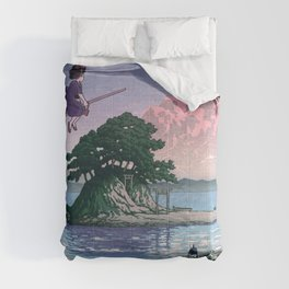 Kiki's Delivery Service and vintage japanese woodblock mashup Comforters