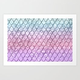 Mermaid Scales on Unicorn Girls Glitter #4 #shiny #pastel #decor #art #society6 Art Print