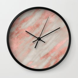 Smooth rose gold on gray marble Wall Clock