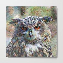 Dream Creatures, Eagle Owl, DeepDream Metal Print