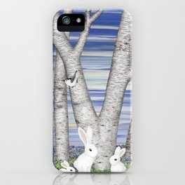 nuthatches, bunnies, and birches iPhone Case
