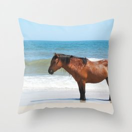 Watercolor Horse 50, Assateague Pony, Assateague, Maryland, Solitary Stand Throw Pillow