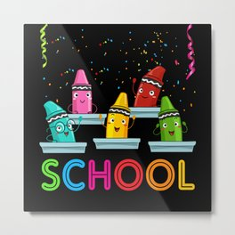 School Pens Gift Idea Design Motif Metal Print