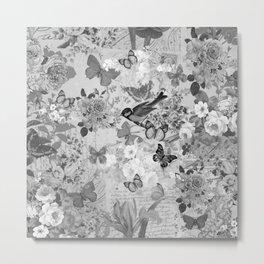 Vintage black white bohemian lush floral collage typography Metal Print