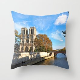 Notre Dame in Autumn Throw Pillow