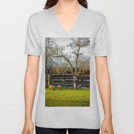 Peaceful Spring Meadow Unisex V-Neck