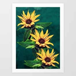 Watercolor sunflowers Art Print