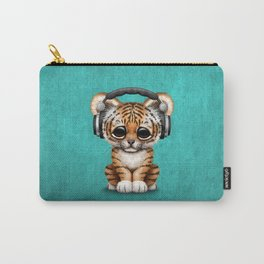 Cute Tiger Cub Dj Wearing Headphones on Blue Carry-All Pouch