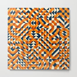 Orange Navy Color Overlay Irregular Geometric Blocks Square Quilt Pattern Metal Print