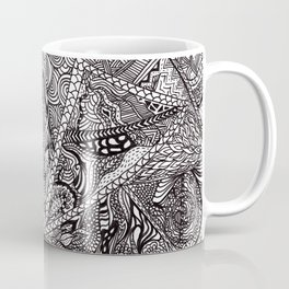 Black white Abstract Paisley doodle geometric pattern Coffee Mug