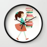 library Wall Clocks featuring Library Girl by Stephanie Fizer Coleman