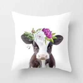 Baby Cow with Flower Crown Deko-Kissen