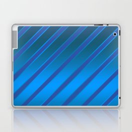 Oblique blue stripes on a blue satin background . Laptop & iPad Skin