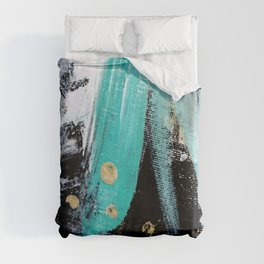 Fairy Dreams: an abstract mixed media piece in black, white, teal, and gold Duvet Cover