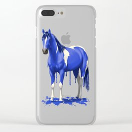 Royal Blue Dripping Paint Horse Clear iPhone Case