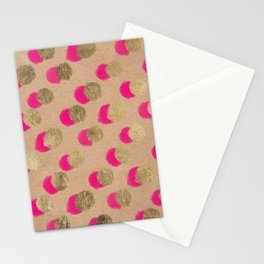 Modern Christmas watercolor neon pink gold foil polka dots on Kraft Stationery Cards