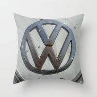 vw bus Throw Pillows featuring Rusty VW Bus Symbol by wildVWflower
