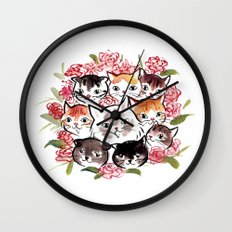 Happy Cats Flower Ball Wall Clock
