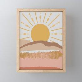 Bright Yellow Sun Framed Mini Art Print