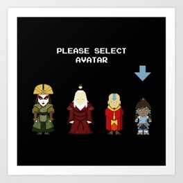 Avatar Selection Screen Art Print