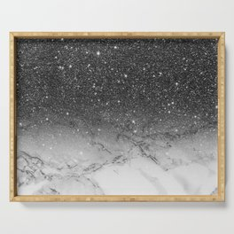 Stylish faux black glitter ombre white marble pattern Serving Tray