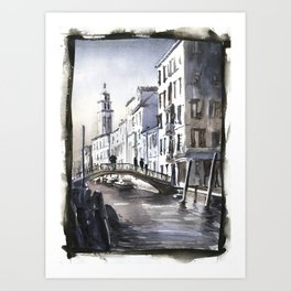 Church steeple in medieval city of Venice, Italy.  Fine art watercolor Venice artwork Italy painting Art Print