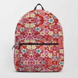 Crimson Floral Chirimen Backpack