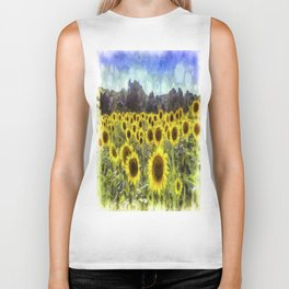 Sunflower Fields Of Dreams Van Goth Biker Tank