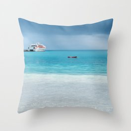 Beautiful light at the horizon on a rainy day at Kuto Bay Throw Pillow