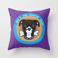 bitch Throw Pillows featuring Bitch by sophiedoodle