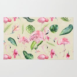 Tropical pink green ivory watercolor flamingo floral Rug