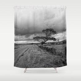 The road ahead - mono Shower Curtain