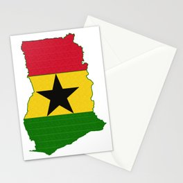 Ghana Map with Ghanian Flag Stationery Cards