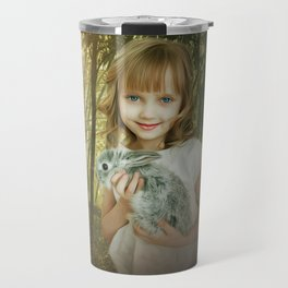 Girl With Bunny in Forest Travel Mug