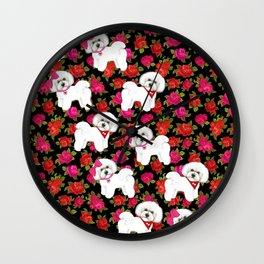 Bichon Frise pink rose red christmas holiday floral pattern print pet friendly dog breed gifts Wall Clock