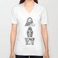 theatre V-neck T-shirts featuring Babushka No Theatre by Jonathan Habens