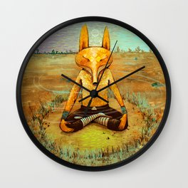 Fox meditation Wall Clock