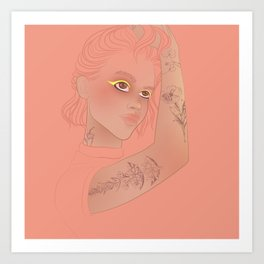 pink portrait of tattooed girl Art Print
