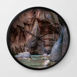 Man With Drowning Concerns (The Narrows, Zion National Park, Utah) Wall Clock