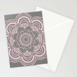 Mandala Flower Gray & Ballet Pink Stationery Cards