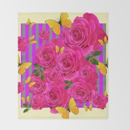 PINK GARDEN ROSES & YELLOW BUTTERFLIES MODERN ART FROM SOCIETY6   BY SHARLESART. Throw Blanket