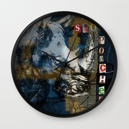 Stop Rhino Poachers Wildlife Conservation Art Wall Clock